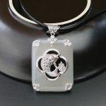 925 Silver Fish Pendant Square Natural White Stone 100% Real S925 Solid Original Silver Pendants for Women <b>Jewelry</b> <b>Making</b>