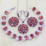 Flower Shaped Red Garnet Zircon White CZ 925 Sterling Silver <b>Jewelry</b> Sets For Women <b>Wedding</b> Earrings/Pendant/Necklace/Bracelet