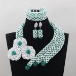 <b>Handmade</b> <b>Jewelry</b> Luxurious White/Green Crystal Party African Beads <b>Jewelry</b> Set Indian Bridemaid <b>Jewelry</b> Set Free ShippingABL962