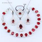 L&B Drop <b>silver</b> 925 Red Garnet White Zircon Jewelry Sets For Women <b>Bracelets</b>/Earrings/Pendant/Necklace Chain/Ring