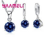 Giemi 8 Colors 925 Sterling Silver Wedding Elegant <b>Jewelry</b> Sets Crystal Pendant Collar Necklace Earrings Women Decoration Set
