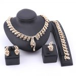<b>Handmade</b> Dubai Gold Color Black Crystal Leopard <b>Jewelry</b> Sets Fashion Nigerian Wedding African Costume Dubai <b>Jewelry</b> Sets