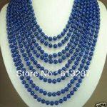 Fashion style 8 rows 6mm blue lapis lazuli charms beads <b>making</b> <b>jewelry</b> necklace 17-24″ YE2072