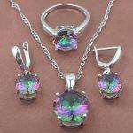 Round Multicolor Rainbow Zircon Women's 925 Sterling Silver <b>Jewelry</b> Sets Necklace Pendant Earrings Rings Free Shipping TZ0368
