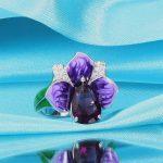 WindJune <b>Handmade</b> Enamel Silver Rings For Women 100% 925 Sterling Silver Engagement Rings Bohemian Wedding Party Fine <b>Jewelry</b>