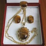 real Women's Wedding wholesale Inlay tiger eye stone pendant necklace earring & ring <b>jewelry</b> set silver-<b>jewelry</b>
