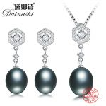 Dainashi Polygon 925 sterling <b>silver</b> 100% original black pearl sets with drop <b>earrings</b> and pendants for weddings gifts