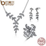 BAMOER 925 Sterling <b>Silver</b> Sparkling Leaves Leaf Long Pendant Necklace <b>Silver</b> Bridal <b>Jewelry</b> Sets Sterling <b>Silver</b> <b>Jewelry</b> ZHS010