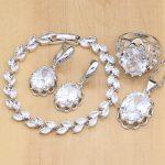 Crown Shape 925 <b>Silver</b> Jewelry Sets White Zircon Stones White CZ For Women Earrings/Pendant/Rings/<b>Bracelet</b>/Necklace Set