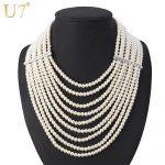 U7 Multi Layer Simulated Pearl Necklace Fashion <b>Jewelry</b> African Bead Long Necklace Women <b>Wedding</b> Gift N406