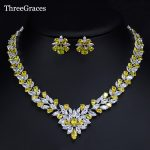 ThreeGraces Marquise Design Nigerian African Wedding <b>Jewelry</b> Sparking Yellow CZ Stone Statement <b>Necklace</b> Set For Women JS189