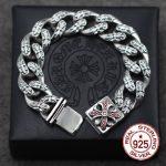 S925 <b>sterling</b> <b>silver</b> men's bracelet personality classic punk style hip hop domineering cross <b>jewelry</b> modeling send lover's gift