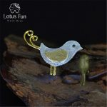 Lotus Fun Genuine 925 Sterling <b>Silver</b> Handmade Fine <b>Jewelry</b> Lovely Little Bird Design Pendant without Necklace for Women
