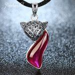 JIASHUNTAI Retro 100% 925 <b>Silver</b> Sterling Fox Pendant <b>Necklace</b> <b>Silver</b> Jewelry For Women Fashion