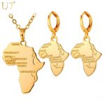 U7 Hot Africa Map Necklace Set Women Trendy Gold/Silver Color Pendant Necklace Earrings African <b>Jewelry</b> Sets S863