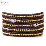 KELITCH <b>Jewelry</b> Newest Top Gold Nuggets Beaded Bracelet <b>Handmade</b> Genuine Leather Chain Skull Women Men Bracelets Wholesale