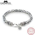 GAGAFEEL Thai <b>Silver</b> Bracelet Real 925 <b>Sterling</b> <b>Silver</b> <b>Jewelry</b> Men's Bracelets Safe Pattern Chain Round Tags For Male Boyfriend