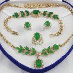 Prett Lovely Women's Wedding Noblese lady's light green gem stone beaded flwoer necklace bracelet earring & ring 6 7 8 9#
