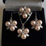 Prett Lovely Women's Wedding fast shipping>> Fashion 8mm Coffee Shell Pearl Earring Pendant Ring 7/8/9 <b>Jewelry</b> Set