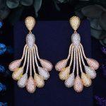 GODKI Luxury Peacock Tail Flower Trendy Cubic Zirconia 3 Tone Metal Color <b>Wedding</b> Party Drop Earring Fashion <b>Jewelry</b> for Women