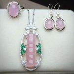 Yu Xin Yuan Fine 925 Mosaic Natural Pink Bamboo SectionChalcedony Pendant Ring <b>Earrings</b> Jewelry Suit