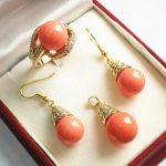 noble new jewelry salmon pink 18KGP + 12mm shell pearl pendant, <b>earring</b>, , ring set