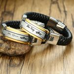 Her King – His Queen Stainless Steel Braided Leather Bracelet in Black Couple <b>Jewelry</b> For Him And Her Bangle Braslet 8.8″