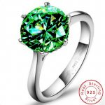 Classic <b>Jewelry</b> Real Soild 925 <b>Sterling</b> <b>silver</b> ring solitaire 3ct Green AAAAA Zircon Cz Anniversary wedding band rings for women