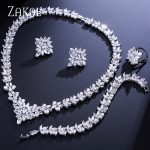 ZAKOL Women <b>Jewelry</b> Sets Cubic Zircon Leaf Necklace/ Earrings/ Ring/ Bracelet Bride Weddings <b>Jewelry</b> FSSP313