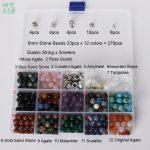 8mm 1 set Round Beads Natural Stone Beads Including Buddha Skull Beads Elastic String Kit Beads For <b>Jewelry</b> <b>Making</b> Bracelet DIY