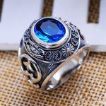MetJakt Vintage Men Blue Topaz Rings Hand Carved Totem Solid 925 <b>Sterling</b> <b>Silver</b> Ring for Men Personality Thai <b>Silver</b> <b>Jewelry</b>
