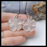 Natural Gemstone Carved Flower Nephrite Jade <b>Fashion</b> women earring beads,Semiprecious stone <b>Jewelry</b>,27x25x6mm,11.4g