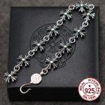 S925 <b>sterling</b> <b>silver</b> men's bracelet personalized classic punk style hip-hop cross <b>jewelry</b> modeling gifts to send lover