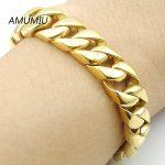 AMUMIU New Men Bracelet Silver/Gold Color Stainless Steel Bracelet & Bangle Male <b>Accessory</b> Hip Hop Party Rock <b>Jewelry</b> HZB025