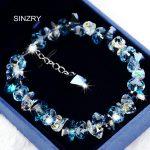 SINZRY pure handmade Luxury 925 sterling <b>silver</b> Trendy brilliant heart crystal charm <b>bracelets</b> & bangle Girl jewellery