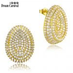 DreamCarnival1989 Oval Round Stud Earrings for Women Rhodium Gold Color Zircon Paved <b>Wedding</b> <b>Jewelry</b> Mujeres Pendientes Brincos