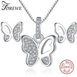Women Fashion Jewelry Set Animal Butterfly CZ Cubic Zirconia 925 Sterling <b>Silver</b> Earrings <b>Necklace</b> Jewelry Mothers Birthday Gift