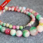 2017 New For Necklace 6-14mm Natural Pink&Green Chalcedony Beads Necklace Women Girls Beads Stone 15inch <b>Jewelry</b> <b>Making</b> Design