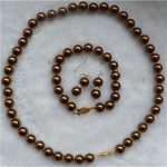 Women's Wedding AAA 8mm Moving Chocolate Sea Shell Pearl Necklace & Bracelets Earring Set Natural silver-<b>jewelry</b>