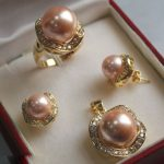 Prett Lovely Women's Wedding 10mm &14mm Light Pink South sea Shell Pearl Earrings Ring Necklace Pendant Set