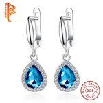 BELAWANG Hoop Earrings Blue Waterdrop Earrings For Women Luxurious Brincos Unique Rhinestone Paved 925 Sterling Silver <b>Jewelry</b>