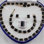Prett Women's Wedding D5U7 ED4 > >Black Rich stone Link Bracelet/ Earrings /Ring / Necklace <b>Jewelry</b> Set