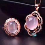 Natural Rose Quartz Gems Stone Jewelry Sets Genuine 925 Sterling <b>Silver</b> Women Sing Chain Pendant