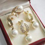 Prett Lovely Women's Wedding 12mm White Shell Pearl Pendant Necklace Earrings Ring Set 5.23 5.23