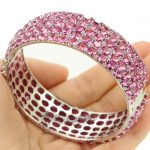 2018 Awesome Big Size Pink Tourmaline Mother's Day Present 925 <b>Silver</b> Bangle <b>Bracelet</b> 8.0inch 65x20mm