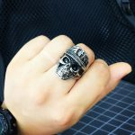 Punk Men Ring 316L Stainless Steel wolrd Dictator ring New Designed skull <b>Antique</b> Men <b>Jewelry</b>