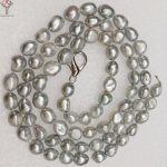 """Women <b>Jewelry</b> 9x10mm pearl 120cm 47"""" necklace bright gray baroque pearl <b>handmade</b> real natural freshwater pearl"""