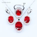 L&B <b>Handmade</b> Red created Garnet Bridal <b>Jewelry</b> Sets in China Silver Color Drop Earrings Pendant Necklace Rings For Women