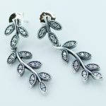 Compatible with European <b>Jewelry</b> Sparkling Leaves with Cubic Zirconia 925 Sterling Silver Earings for Women DIY <b>Making</b> Wholesale