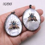 3 pcs white shell pendants big size with bugs charm necklace pendants for <b>jewelry</b> <b>making</b> gift for women wholesale <b>jewelry</b> 4038